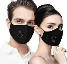 LOT of 1/2/3/5 SET of  REUSABLE- Cotton FACE MASK w/ VENT with PM2.5 Filter pad