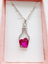 Love Heart in a Bottle Necklace Jewellery Pieces Pink Stone Brand New & Boxed