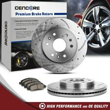 6 Lug Front Kit Drilled Brake Rotors Ceramic Pads For 2WD 4WD 4X4 Chevy GMC