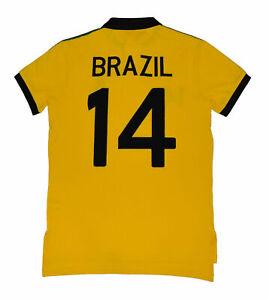 New Polo Ralph Lauren Big Pony Brazil Flag  Yellow Men Shirt  XS XSAMLL Custom