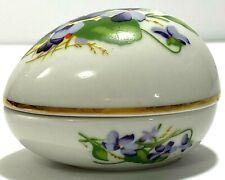 Vintage 1980 Danbury Mint Porcelain Purple Violet Egg Shaped Trinket Box