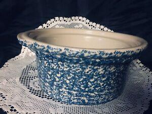 Roseville;Workshop Gerald Henn Spongeware 2 Qt Round Casserole, No Lid; Blue