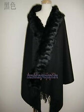 Hot 100% Wool 4 ply Pashmina Cashmere With Rabbit Fur Shawl Wrap Scarf