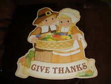 MINT 1990 Abby Press Give Thanks Thanksgiving Pilgrim Children wall hanging