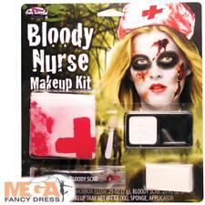 Bloody Nurse Makeup Kit Halloween Ladies Zombie Fancy Dress Womens Costume Acc
