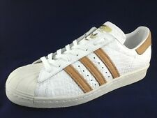 ADIDAS SUPERSTAR Mens SNEAKERS White/Gold Tan Shoes BB2229 Croc Retro US 11.5/46