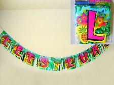 2pc Banners Lets Luau Sign Beach Tropical Hawaiian Party Supplies
