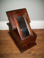 Antique 1920's Eastern Hardwood Table Top Vanity/Shaving Cabinet with Mirror