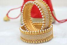 Indian Wedding Women Openable Polki Bangle Bracelet Set Ethnic Fashion Jewelry