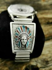 Sterling Silver Navajo Indian Chief Head Watch Tips with Turquoise & Red Coral