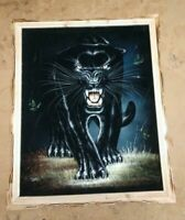 """BLACK PANTHER  , Hand Painted , VELVET PAINTING , 18"""" BY 22"""" W , FRAMED"""
