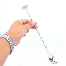 Cocktail Drink Mixer Stainless Steel Stirring Mixing Spoon Ladle Muddler Bar B$