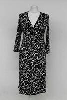 HOBBS Ladies Navy Blue Ivory Spotted 3/4 Sleeve Sally Wrap Dress UK8 RRP99 BNWT