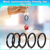 5x Solid Steel Split Key Ring Keychain Black Metal Flat Loop Key Chain Holder TR