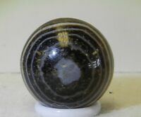 7923m Vintage Black Bull's Eye Agate Marble .83 Inches