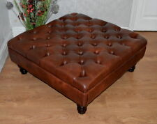 Square Chesterfield Style Deep Button  Footstool  Premium Chestnut Faux Leather
