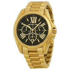 Michael Kors Mid-Size Bradshaw Chronograph Black Dial Gold Tone Ladies Watch-AU