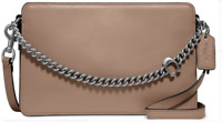 New COACH 78801 Leather Signature Chain Crossbody Taupe/Sliver!!