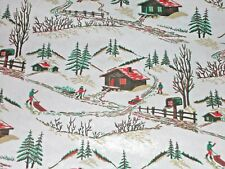 Vtg Christmas Wrapping Paper Gift Wrap Country Cabin Sled Winter Scene