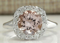 3.19 Carat Natural Morganite 14K White Gold Diamond Ring