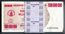 Zimbabwe 500 Million Dollars x 100pcs 2008 P60 full bundle VF currency bills