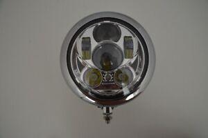 """6.5"""" Motorcycle Headlight LED Bottom Mount Chrome Steel For Chopper Custom Bike"""