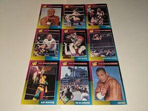 1995 WWF MAGAZINE TRADING CARDS UNCUT 9-Card #46-54 Sheet Set Hakushi/Sycho Sid+