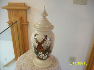 Bristol Glass Antique Handpainted & Enamel Stag Deer Floral Scene Jar With Lid
