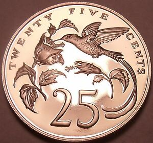 Rare Proof Jamaica 1972 25 Cents~Streamer Tailed Hummingbird~17,000 Minted~Fr/Sh
