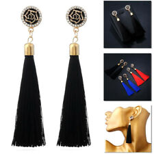 Crystal Long Tassle Rhinestone Rose FLOWER Fringe Dangle Earrings Tassel Drop UK