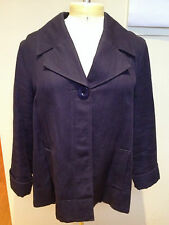 RODNEY CLARK Navy Blue Textured Cotton Polka Dot Lined Long Sleeve Jacket 16