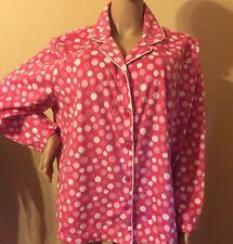 Karen Neuburger Pajama Set 1X Fleece Long Sleeves  1X Pink / White
