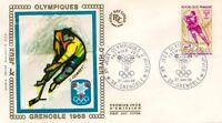 Enveloppe Premier Jour 27/1/1968 Jeux Olympiques Grenoble hockey + vignette