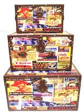 Set of 3 Trunk Box Retro Australian OZ design retangular Case Storage Organiser