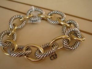 DAVID YURMAN 18K GOLD, STERLING SILVER EXTRA LARGE OVAL LINK BRACELET 9""