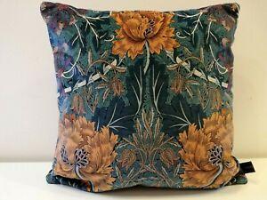 William Morris Honeysuckle & Tulip Velvet Cushion Cover Woad & Mulberry Teal