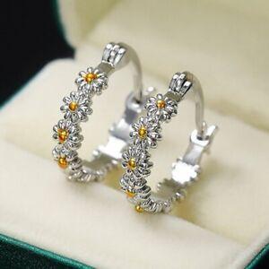 925 Silver Flower Daisy Round Hoop Earrings Stud Women Statement Jewelry Gift