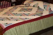 AUTHENTIC AMISH QUILT HAND QUILTED LOG CABIN STYLE  MULTI COLORS KING / QUEEN