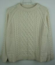 Women`s Jumper Crew Neck Cable Knit Size UK 12 Ivory