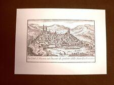 Veduta della Città di Nocera nel Ducato di Spoleto Incisione del '600 Ristampa