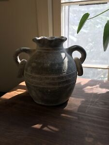decorative vessel vase traditional antique style patina green white chalky
