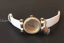 NEW GUESS GOLD TONE,WHITE SAFFIANO LEATHER,CRYSTALS,CHARM, WATCH W0304L7