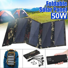 50W 10in1 Folding Solar Panel USB Battery Charger Power Bank Camping Hiking RV