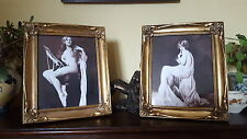 VINTAGE ART DECO NAKED LADY LADIES GOLD & GLASS PICTURE PHOTO FRAMES PRINTS
