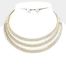 GLAM Celeb Statement Gold Wide Cuff  Crystal Choker Necklace Set Rocks Boutique