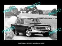 OLD LARGE HISTORIC PHOTO OF 1962 FORD ZODIAC SEDAN LAUNCH PRESS PHOTO