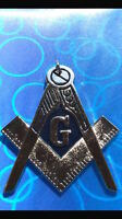 Master Mason Masonic Blue Lodge Chain Collar Jewel Silver with Dark Blue