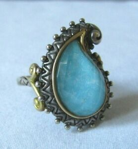 Barbara Bixby Sterling/18K Gold Turquoise Doublet & Crystal Paisley Ring Size 8