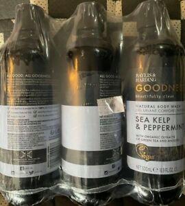 Baylis & Harding Goodness Sea Kelp & Peppermint, 500 ml Body Wash, Pack of 3