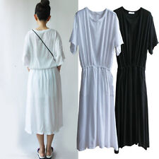 Cotton Blend Casual Solid Midi for Women